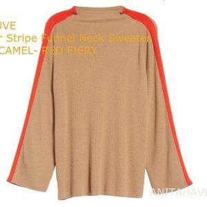 TROUVE Racer Stripe Funnel Neck Sweater Size XXS